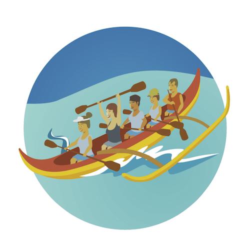 Outrigger Canoe Surfing, Waikiki, Oahu, Hawaii