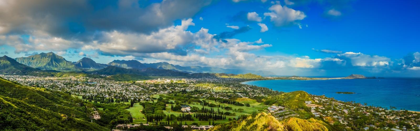 Introduction to Oahu, Lanikai Pillboxes Panorama, Oahu, Hawaii